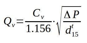 Control valve flow coefficient Cv Kv - Valve sizing